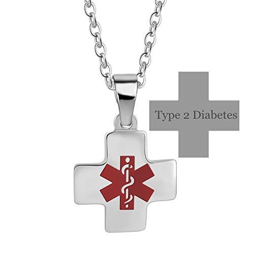 LiFashion Personalised Edelstahl Medical Alert Diease Alarm Kreuz Halskette für Männer Frauen Awareness ID Tag Anhänger Freies Gravieren