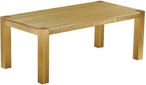 Brasilmöbel® Esstisch 200x100 Rio Kanto - Brasil Pinie Massivholz - Größe & Farbe wählbar - Esszimmertisch Küchentisch Holztisch Echtholz - vorgerichtet für Ansteckplatten - Tisch ausziehbar