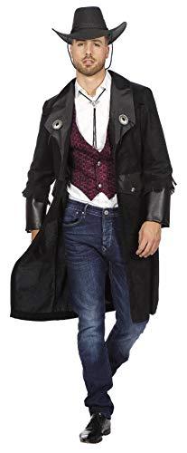 L3303220-48 schwarz Herren Cowboy Mantel-Jacke Cowboykostüm Gr.48