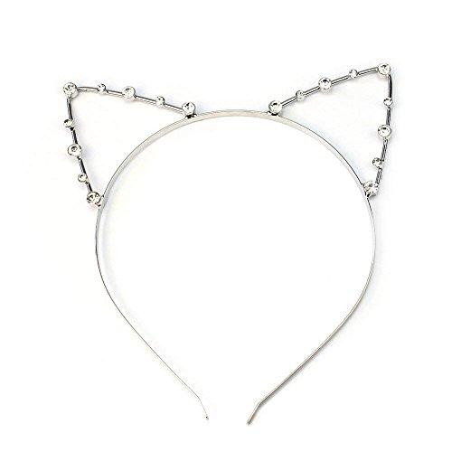 Xiton Fascia Capelli Metal fascia Lega Adorabile dell'orecchio di gatto brillante Hairband costume delle decorazioni quotidiano del partito di Cosplay sexy Headwear per le donne ragazze - Argento