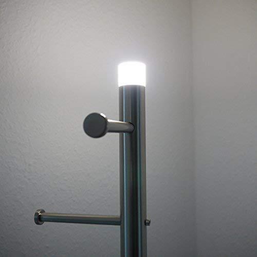 Dapo Garderobenständer mit LED Beleuchtung Metall Kleiderständer H 180cm Garderobe Standgarderobe Flurgarderobe (Silber)