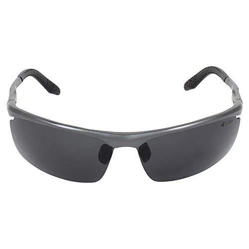 Caprio Black & Grey Rimless Textured Frame Rectangular Sunglasses for Men
