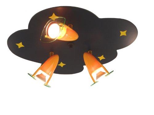 Niermann Standby 619 Deckenleuchte Wolken 3 Strahler mit Sternen, 55 x 38 cm, 3x R50 max. 40 Watt blau/gelb