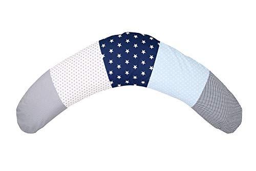 ULLENBOOM ® Stillkissen Blau Hellblau Grau (190x38 cm, Inlett: leise EPS MIKROPERLEN, Lagerungskissen, Schwangerschaftskissen, Seitenschläferkissen)