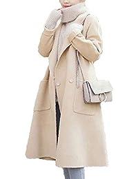 c3af96e9dffd Damen Winterparka Elegant Normallacks Oversize Trenchcoat Herbst Winter  Jungen Fashion Wollmantel Lang Casual Langarm Mit Taschen