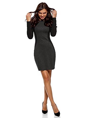oodji Ultra Damen Enges Kleid mit Kontrast-Einsätzen, Grau, DE 34 / EU 36 / XS (Kontrast Kleid Anlass)
