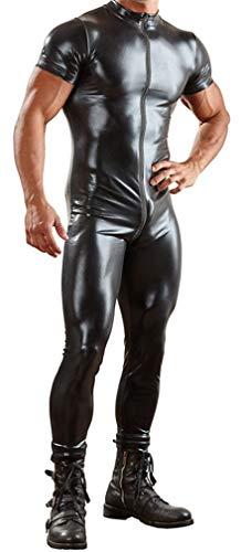 YouYaYaZ Herren Mann Lackleder Shirt Hemd Wetlook Tank Unterhemd Reizwäsche Fitness Undershirt Dessous(Schwarz,3XL)