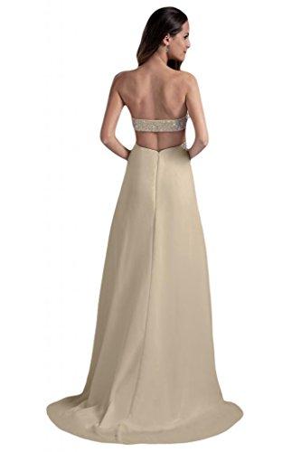 Sunvary donna in Chiffon con perline, senza posteriore, per abiti da sera o da cerimonia, con diamanti champán