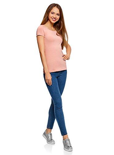 oodji Ultra Damen Tagless Tailliertes T-Shirt Basic (2er-Pack) Rosa (4B00N)