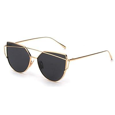 GAXUVI Fashion Twin-Beams Classic Women Metal Frame Mirror Sunglasses Cat Eye Glasses