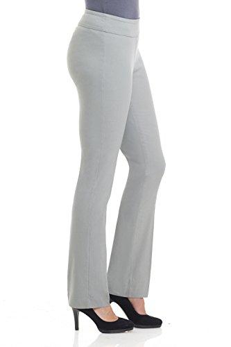 Rekucci Damen Seien Sie in Komfort bekleidet schlanke Stretch-Hose mit Bauchsteuerun Silber