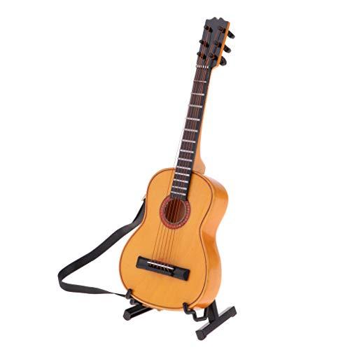 NON Guitarra Eléctrica De Madera De 1/6 De Escala con Soporte De Instrumentos Musicales En Miniatura De Juguete - #1