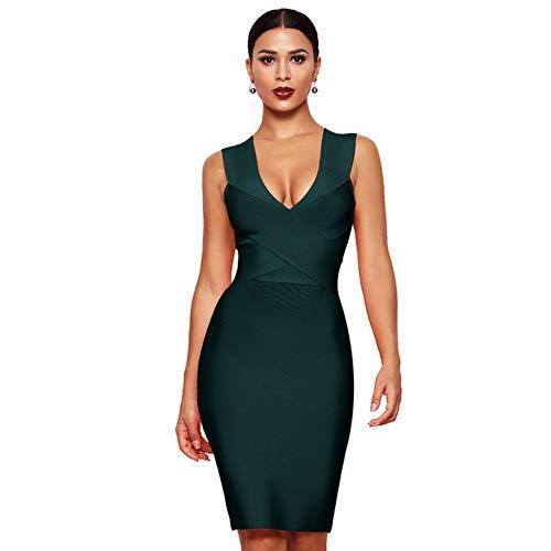 JJHR Kleider Dress Club Wear Partykleid Ärmellos Orange Weinrot Damen Bandage Kleider Bodycon, L Bandage Kleid