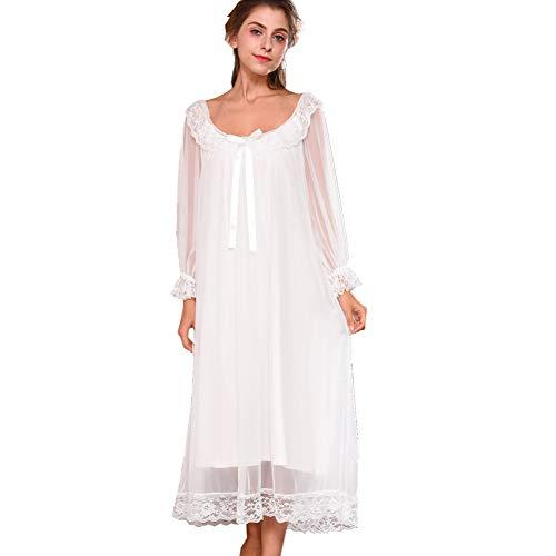 Damen Kleid Nachthemd Langarm Spitze Vintage Viktorianischen Stil Nachthemd Sweet Loose Comfort Langen Rock Nachtwäsche, Weiß, EU XL/Tag 2XL (Vintage Mädchen Nachthemd)