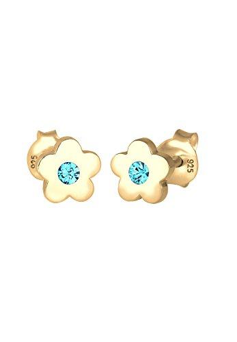 Elli Kinder-Ohrstecker Blume 925 Silber Swarovski Kristalle gold Brillantschliff - 0303621317