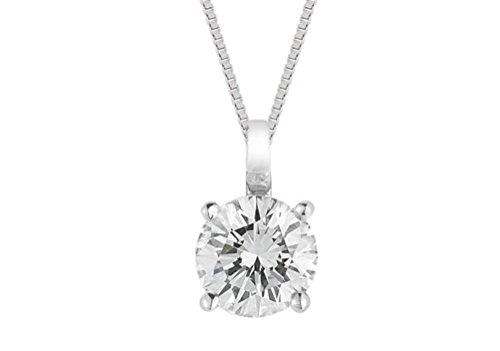 Pendentif diamant solitaire–Or blanc FG de qualité VS/SI