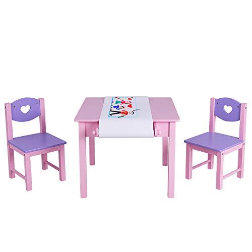 COSTWAY Sitzgruppe Kinder, 3tlg. Kindersitzgruppe, Kindermöbel aus Holz, Kindertisch mit 2 Kinderstühlen, Kindertischgruppe mit Rollenhalter und Papierrolle, mit 2 Schubladen (Modell 1)