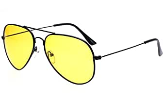 Outray Unisex Night Driving Aviator Polarized Sunglasses BA99 Black/Yellow