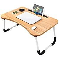 Folding Laptop Bed Table Tray Lap Desk Notebook Stand with ipad Holder Cup Slot Adjustable Anti Slip Legs Foldable for Indoor Outdoor Camping Study Eating Reading Watch Movies on Couch Sofa