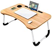 Folding Laptop Bed Table Tray Lap Desk Notebook Stand with ipad Holder Cup Slot Adjustable Anti Slip Legs Fold