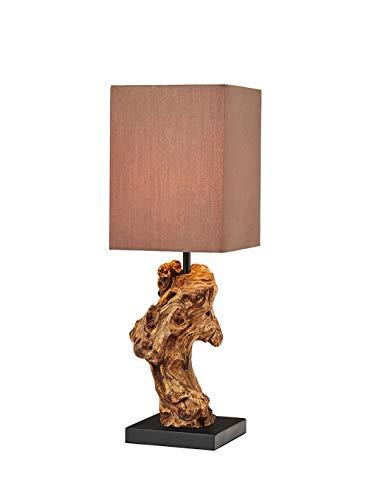 Holz Lampe 2er Set Echtholz Handarbeit mit Baumwollschirm ca. 15 x 15 x 44 cm Modell Uragon Tischlampe Tischleuchte Nachttischlampe -