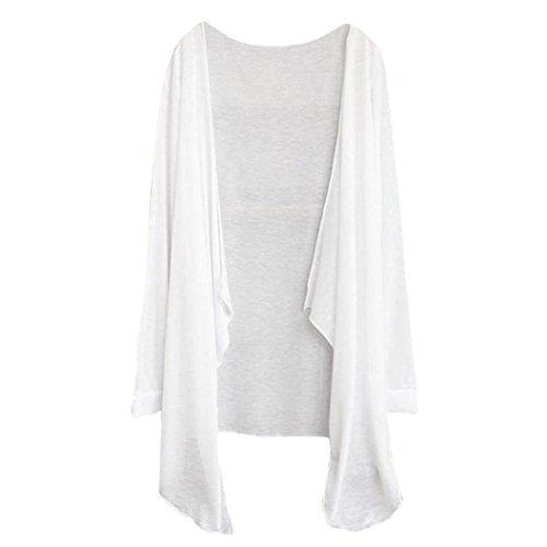 BHYDRY Sommer Frauen Lange dünne Strickjacke Modale Sonnenschutz Kleidung Tops(Free Size,Weiß)