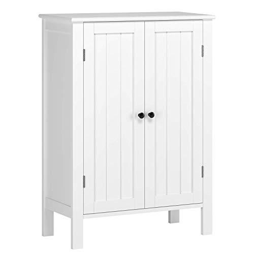 Homfa armadio cassettiera di legno per bagno e salotto, mobiletto con 3 ripiani e doppia ante, contenitore multiuso bianco 58 × 28 × 80 cm