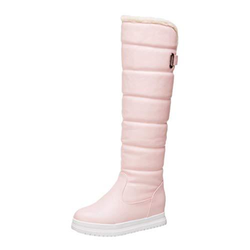 COZOCO Damen Plüsch Futter Hohe Stiefel Flache rutschfeste Schneestiefel Schnalle Einfarbig Winterstiefel Warm Langschaftstiefel(Rosa,37 EU)