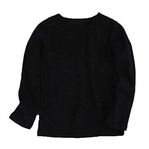 d Junge Mädchen Runder Kragen Tops Lange Ärmel Candy Farbe Bluse Mode Niedlich T-Shirt Herbst Winter Familie Kleider 12 Farben (110, Schwarz) (Kleinkind Kostüm Candy)