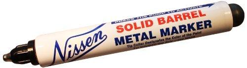 Nissen SBBKM Solid Barrel Metal Marker, 3/32 Tip, Black (Pack of 12) by Nissen