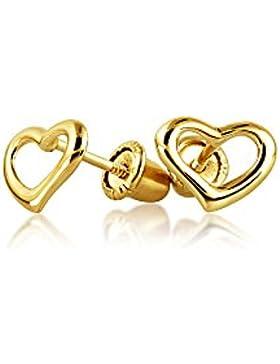 Bling Jewelry Gelbgold 14K Sicherheit Screwback Herz Bolzen Baby Ohrringe