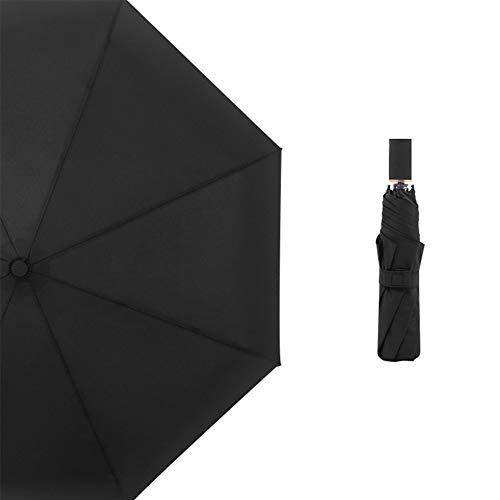 Like More Dreifachgefaltete einfache einfarbige literarischen Stil Regenschirm Falten Winddicht Männer und Frauen tragbaren Regenschirm (1 Stück),Black