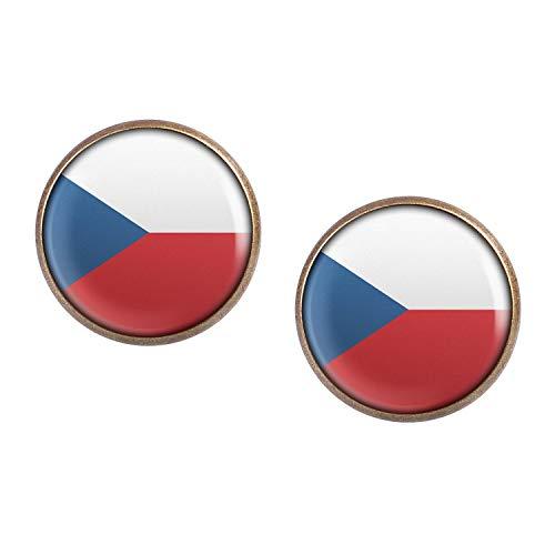 Mylery Ohrstecker Paar mit Motiv Tschechien Tschechische Republik Czech Republic Flagge bronze 16mm -