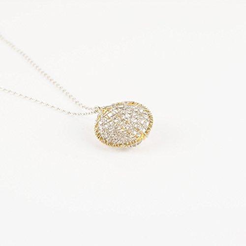 Pendente con collana in Argento 925 bicolore oro rodio. Prodotto artigianale made in Vicenza, anallergico
