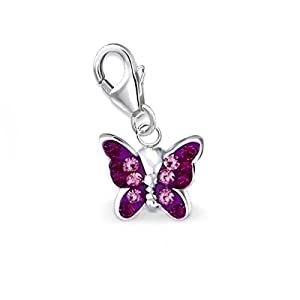 Mini Multicolor Kristall Schmetterling Charm Anhänger 925 Echt Sterling Silber Mädchen Kinder Damen Baby