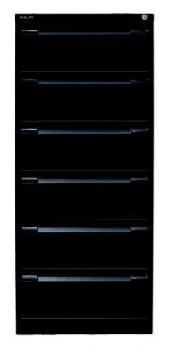 Bisley Karteischrank, doppelbahnig DIN A5, 6 Schubladen Stahl 633 Schwarz 62.2 x 56.8 x 132.1 cm
