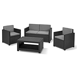 Allibert by Keter Monaco Outdoor 4 Seater Rattan Lounge Garden Furniture Set - Graphite with Grey Cushions