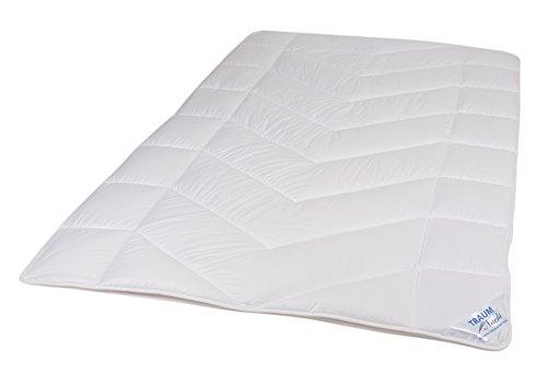 Traumnacht 5-Star 4-Jahreszeiten, teilbare Bettdecke, aus reinem Baumwolle-Satin, 135 x 200 cm, waschbar, weiß