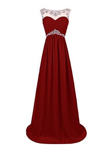 Dresstells, Robe longue de soirée Robe de cérémonie Robe de gala avec strass forme princesse col ras du cou sans manches Bordeaux