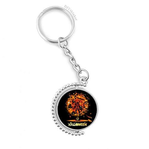 DIYthinker Halloween-Karikatur-Baum-Muster Drehbare Schlüsselanhänger Ringe 1.2 Zoll x 3.5 Zoll Mehrfarbig