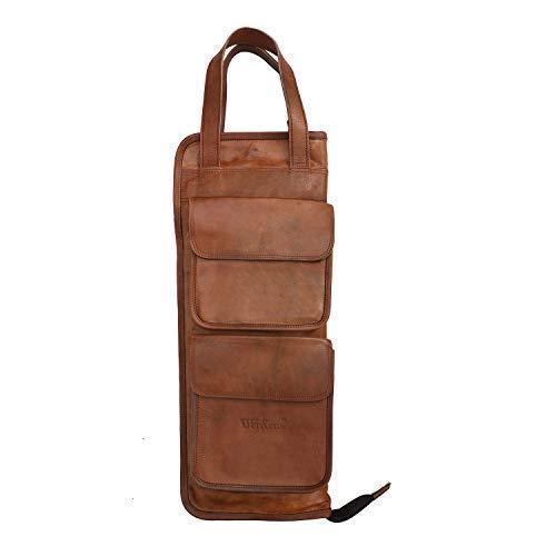 werkens Hand Made Echt Leder Drumstick-Tasche 100% original Leder Percussion Drum Stick Tasche Halter Mallet Bag mit Floor Tom Haken, dsb003