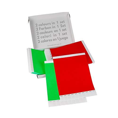 Doppio Pacchetto! GA Event Solutions Braccialetti di identificazione Tyvek, Verde + Rosso, 500+500 pezzi