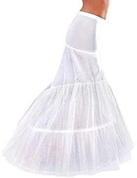 Edith qi Petticoat Enagua 3/4/6 Aros, largo Miriñaque, Crinolina Vestido de novia, Aros ajustable, Un tamaño,...