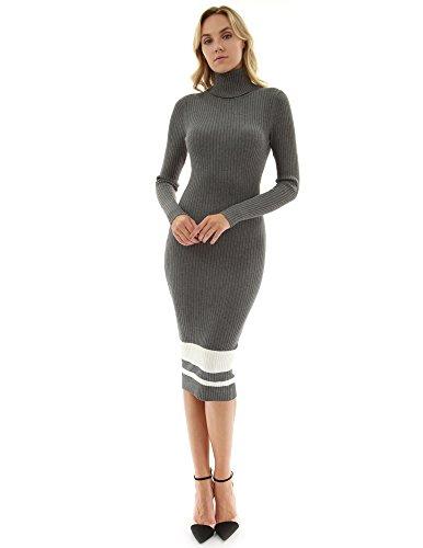 PattyBoutik Damen geripptes Strickkleid mit Rollkragen und langen Ärmeln (dunkelgrau und elfenbein 40/M) (Nylon Rollkragen)