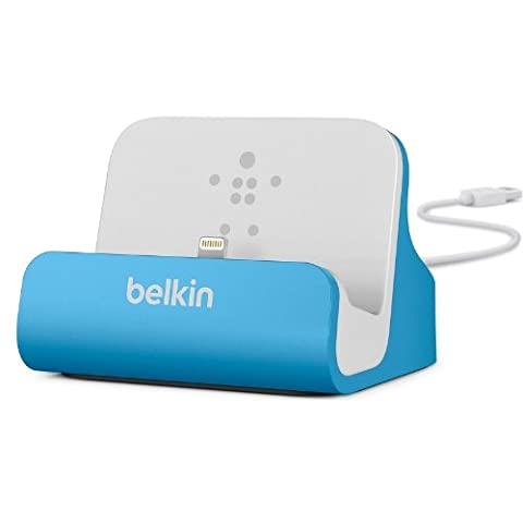 Belkin MFI Certified Charge and Sync Desktop Dock with Lightning Connector for Apple iPhone 7/7 Plus/SE/5/5c/5s/6/6s/6 Plus/6s Plus/iPod Nano 7th Generation/iPod Touch 6th Gen and Airpods - Blue