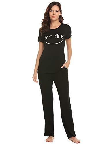 2 Stück Zwei Stück Pyjama Set (MAXMODA Damen Kurze Ärmel Schlafanzug Set Pyjama (2 Stück) mit verspieltem Briefprint Lang Hose Mit Tasche schwarz M)