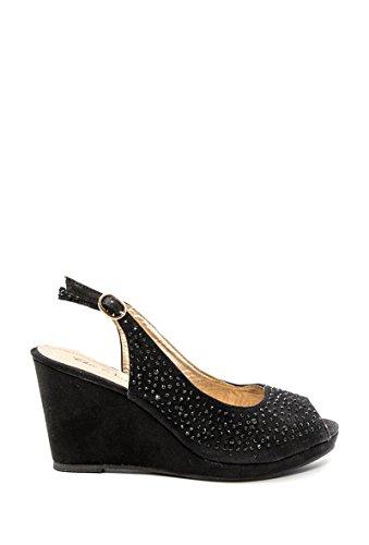 CHIC NANA . Chaussure Femme Sandales compensées haute plateforme suédine, strass diamant fantaisie.