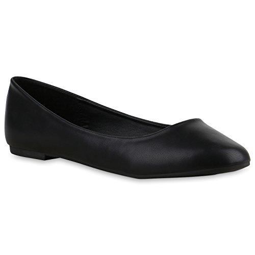 Klassische Damen Ballerinas | Glitzer Ballerina Schuhe Lack | Party Schuhe Zeitschuhe Schleifen | Basic Slipper Flats | Freizeitschuhe Hochzeit Abiball Schwarz Black