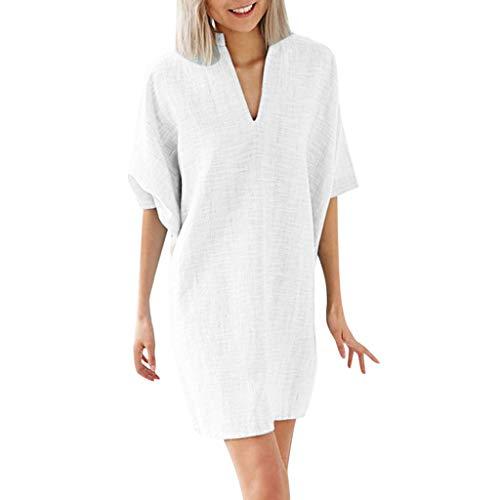 Overdose Damen Freizeitkleider Blusenkleid 1/2 Ärmel V-Ausschnitt Leinenkleider Einfarbig Casual Minikleid Dresses Frühling-Sommer Kostüme übergröße