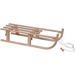 Davoser Luge en bois 110cm pour enfant, pliable, longueur Davos, comprend une corde de traction